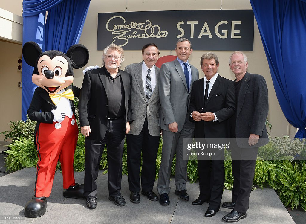 Mickey Mouse, Tim Considine, Richard Sherman, Walt Disney Company CEO Bob Iger, Frankie Avalon and David Stollery attend a special stage rededication ceremony for Annette Funicello hosted by The Walt Disney Company at Walt Disney Studios on June 24, 2013 in Burbank, California.