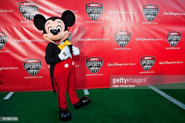 Mickey Mouse walks the red carpet at the official relaunch of the ESPN Wide World of Sports at Walt Disney World Resort on February 25 in Lake Buena...