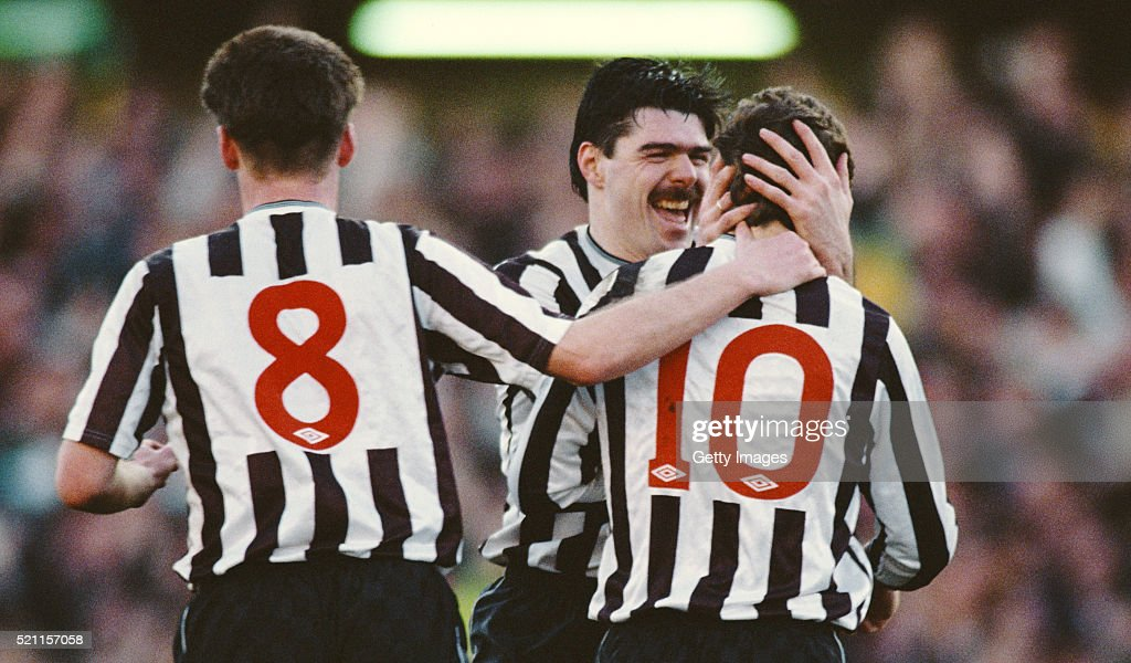Mickey Quinn and Kevin Dillon celebrate with goalscorer Mark McGhee during the FA Cup 5th round match between Newcastle United and Manchester United...