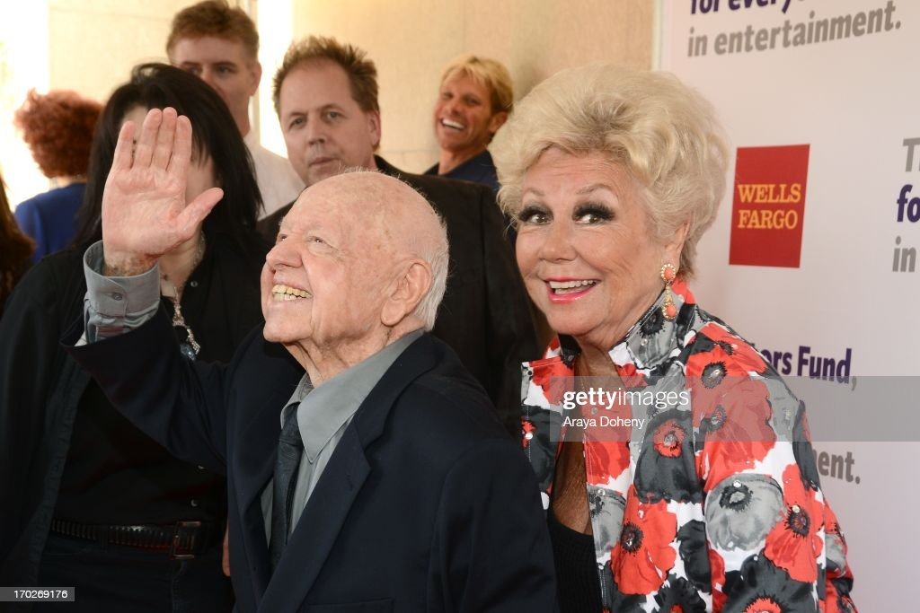 <a gi-track='captionPersonalityLinkClicked' href=/galleries/search?phrase=Mickey+Rooney&family=editorial&specificpeople=91553 ng-click='$event.stopPropagation()'>Mickey Rooney</a> and <a gi-track='captionPersonalityLinkClicked' href=/galleries/search?phrase=Mitzi+Gaynor&family=editorial&specificpeople=613480 ng-click='$event.stopPropagation()'>Mitzi Gaynor</a> arrive at The Actors Fund 17th Annual Tony Awards Viewing Party held at Taglyan Cultural Complex on June 9, 2013 in Hollywood, California.