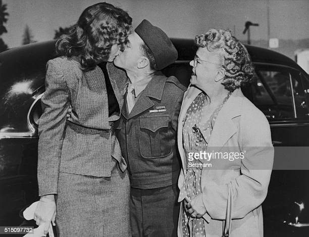 Mickey Rooney Home From War Greets Wife Los Angeles California Mickey Rooney home from the war greets his wife Betty Jane with a big kiss today while...