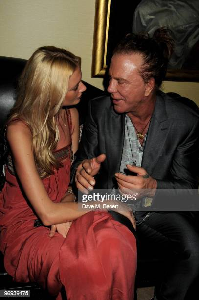 Mickey Rourke and guest attend the BAFTA Soho House Grey Goose after party at the Grosvenor House Hotel on February 21 2010 in London England
