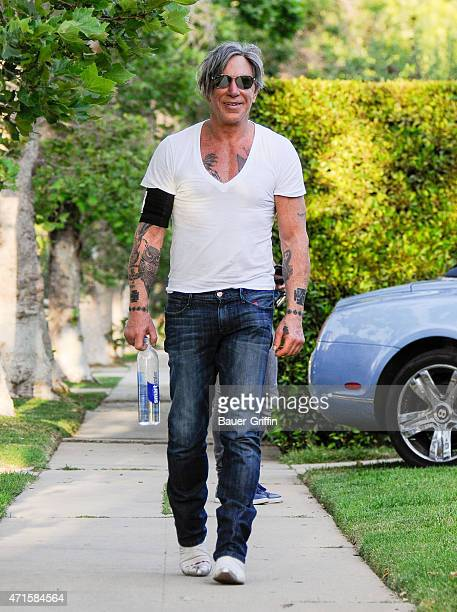Mickey Rourke is seen in Los Angeles on April 29 2015 in Los Angeles California