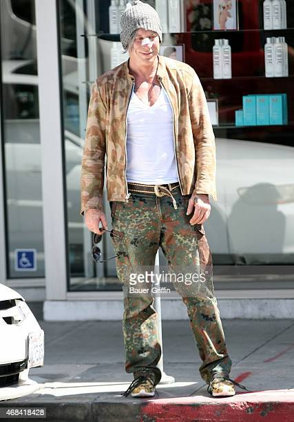 Mickey Rourke is seen on April 02 2015 in Los Angeles California