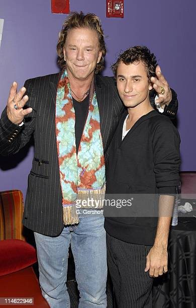 Mickey Rourke with Esteban Cortazar designer during Olympus Spring 2007 Fasion Week Esteban Cortazar Backstage and Front Row at Nokia Theatre in New...