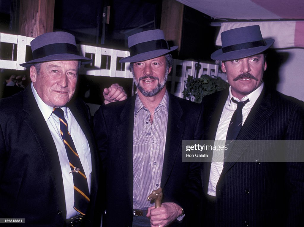 Mickey Spillane, Jay Bernstein and Stacy Keach attend the wrap party for the film 'Murder Me, Murder You' at Ma Maison Restaurant in Beverly Hills, California