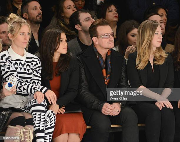 Mickey Sumner America Ferrera Bono and Chelsea Clinton front row at the Edun show during MercedesBenz Fashion Week Fall 2014 at Skylight Modern on...