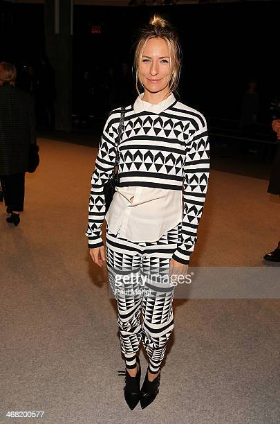 Mickey Sumner attends the Edun show during MercedesBenz Fashion Week Fall 2014 at Skylight Modern on February 9 2014 in the Brooklyn borough of New...