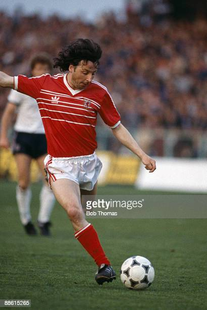 Mickey Thomas in action for Wales against England at the Racecourse Ground in Wrexham circa 1983