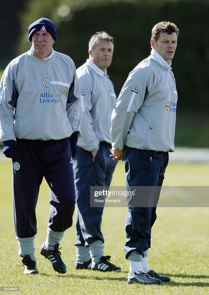 Micky Adams the Leicester City manager flanked by coaches Alan Cork and Steve Cotterill during the teams training session at the Blevoir Drive training ground on February 26, 2004 in Leicester, England.