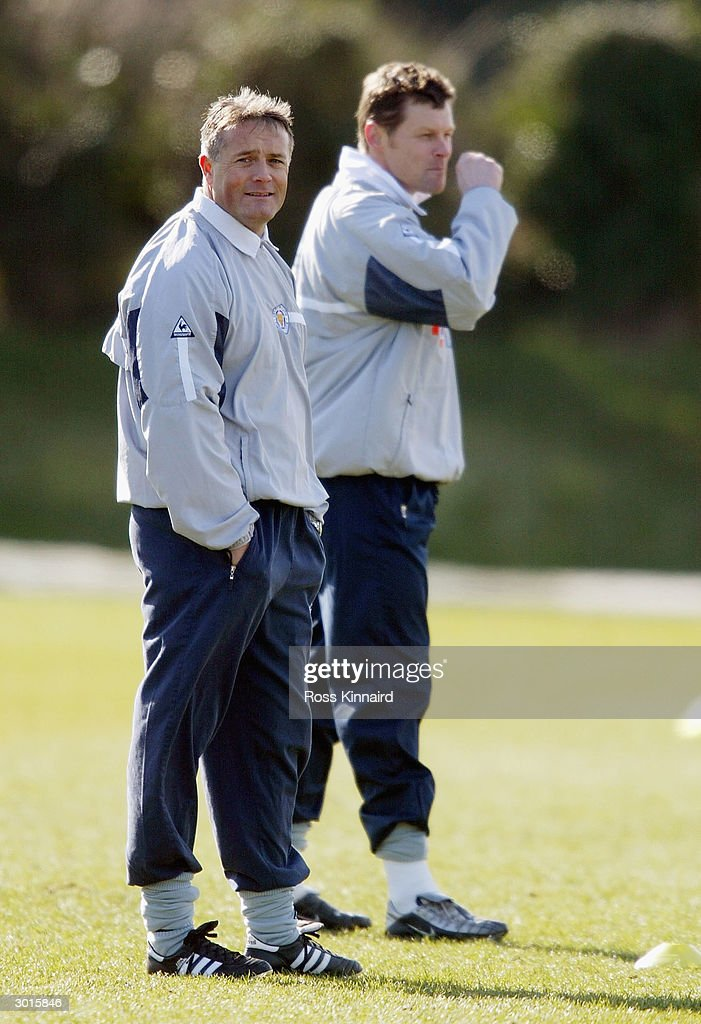 Micky Adams the Leicester City manager with Steve Cotterill during the teams training session at the Blevoir Drive training ground on February 26, 2004 in Leicester, England.