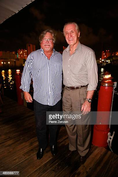 Micky Arison and Pat Riley are seen at Seasalt and Pepper restaurant on April 18 2014 in Miami Florida