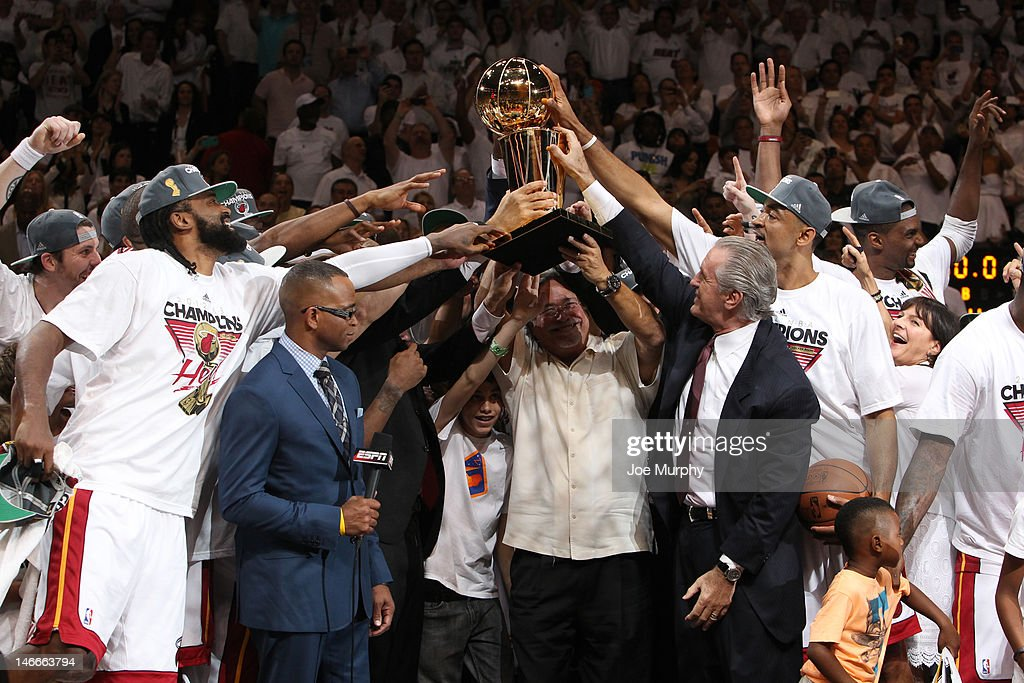 Micky Arison, Miami Heat owner holds up the Larry O'Brien NBA Championship Trophy after the Miami Heat defeat the Oklahoma City Thunder in Game Five of the 2012 NBA Finals at American Airlines Arena on June 21, 2012 in Miami, Florida.