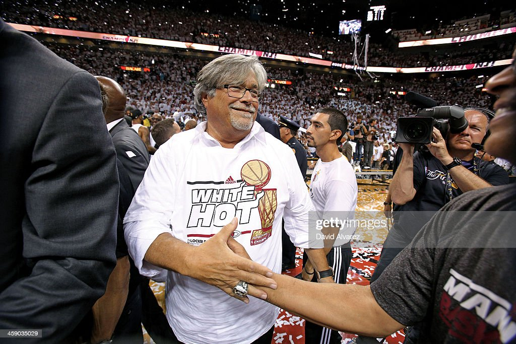 <a gi-track='captionPersonalityLinkClicked' href=/galleries/search?phrase=Micky+Arison&family=editorial&specificpeople=544851 ng-click='$event.stopPropagation()'>Micky Arison</a> of the Miami Heat celebrates after defeating the San Antonio Spurs following during Game Seven of the 2013 NBA Finals on June 20, 2013 at American Airlines Arena in Miami, Florida.