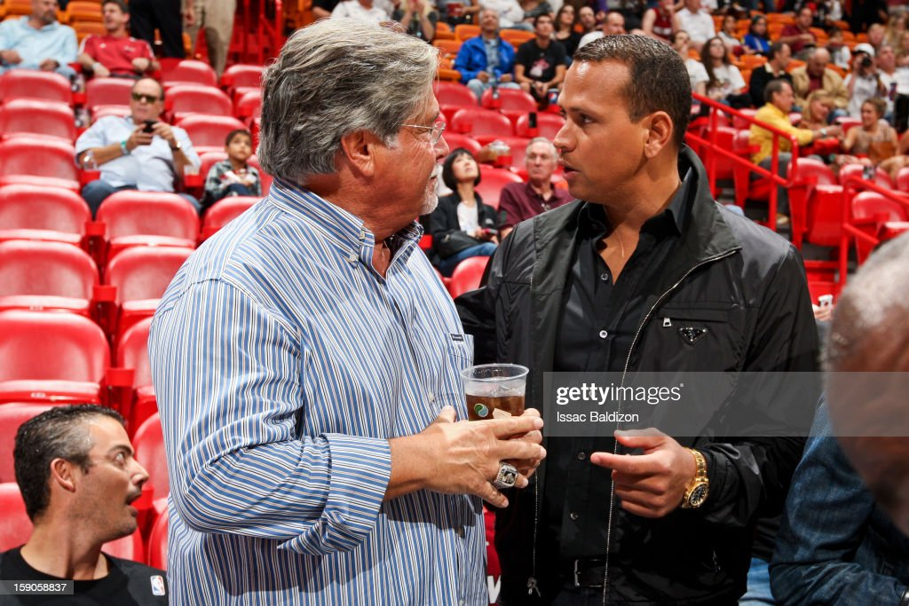 <a gi-track='captionPersonalityLinkClicked' href=/galleries/search?phrase=Micky+Arison&family=editorial&specificpeople=544851 ng-click='$event.stopPropagation()'>Micky Arison</a>, owner of the Miami Heat, left, speaks with Alex Rodriguez of the New York Yankees before an NBA game between the Heat and the Washington Wizards on January 6, 2013 at American Airlines Arena in Miami, Florida.