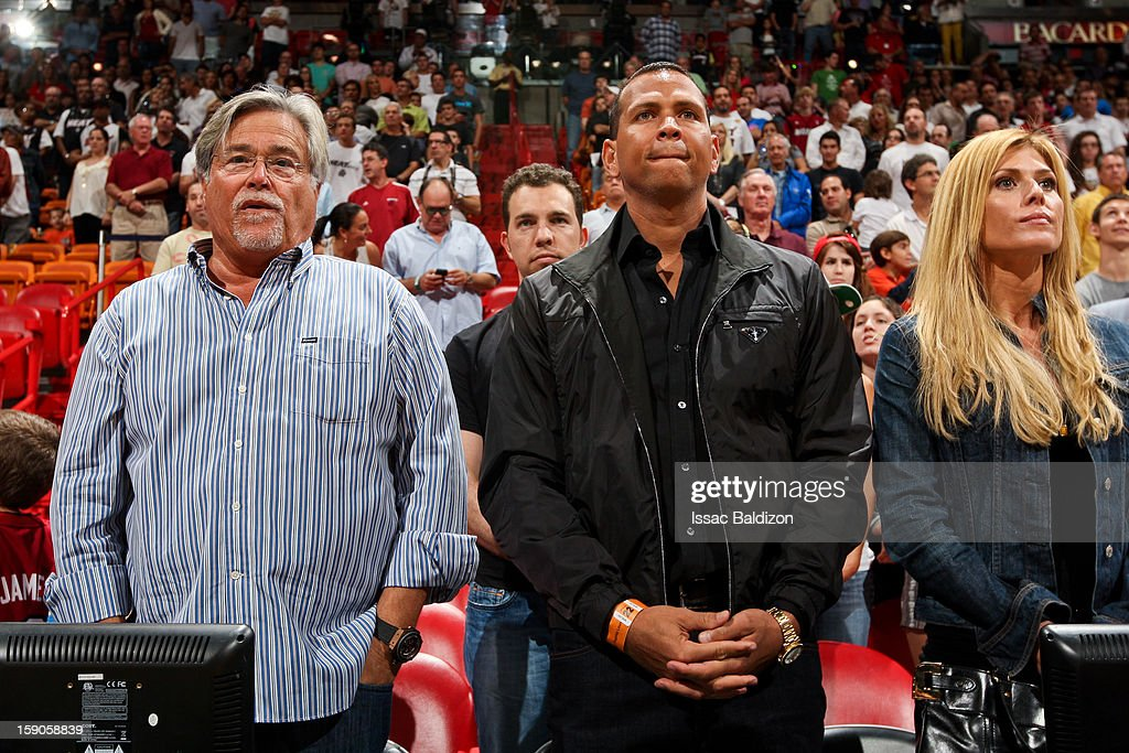 <a gi-track='captionPersonalityLinkClicked' href=/galleries/search?phrase=Micky+Arison&family=editorial&specificpeople=544851 ng-click='$event.stopPropagation()'>Micky Arison</a>, owner of the Miami Heat, left, stands with Alex Rodriguez of the New York Yankees before an NBA game between the Heat and the Washington Wizards on January 6, 2013 at American Airlines Arena in Miami, Florida.