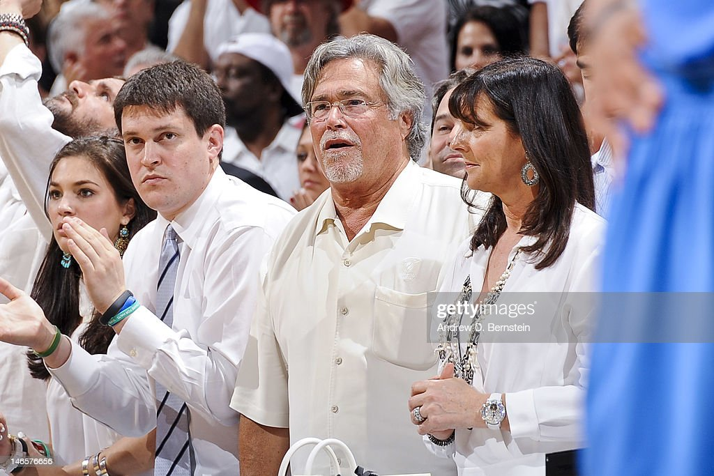 Micky Arison, owner of the Miami Heat, looks on as his team plays against the Oklahoma City Thunder in Game Four of the 2012 NBA Finals at American Airlines Arena on June 19, 2012 in Miami, Florida.