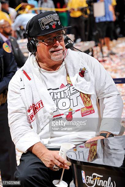 Micky Arison owner of the Miami Heat smiles during an interview following his team's victory against the San Antonio Spurs in Game Seven of the 2013...