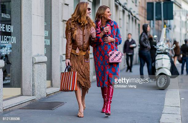 Micol Sabbadini and Anna dello Russo seen outside Alberta Ferretti during Milan Fashion Week Fall/Winter 2016/17 on February 24 2016 in Milan Italy