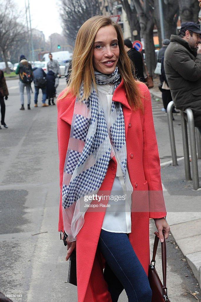 Micol Sabbadini arrives at Giorgio Armani during Milan Fashion Week Menswear Autumn/Winter 2013 on January 15, 2013 in Milan, Italy.