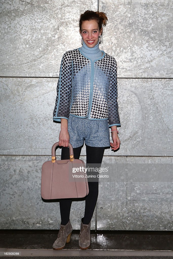 Micol Sabbadini attends the Emporio Armani fashion show during Milan Fashion Week Womenswear Fall/Winter 2013/14 on February 24, 2013 in Milan, Italy.