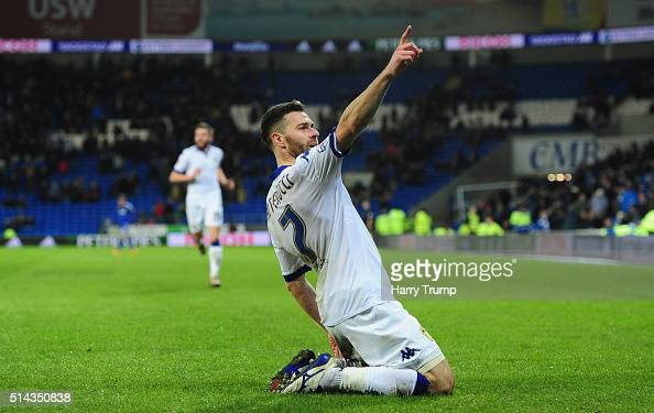 Micro Antenucci of Leeds United celebrates scoring his sides second goal during the Sky Bet Championship match between Cardiff City and Leeds United...