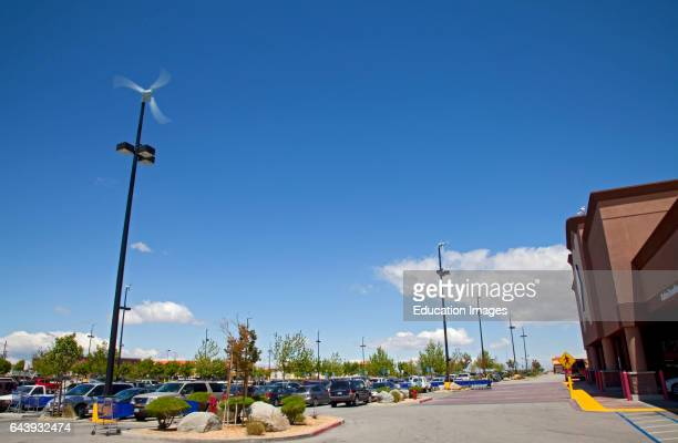 Micro Wind Turbines in parking lot of shopping mall Palmdale Los Angeles County California USA