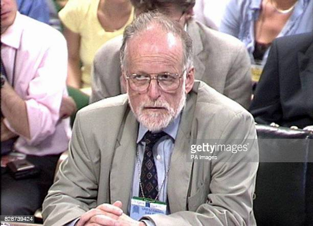 Microbiologist Dr David Kelly during questioning by the Commons select comittee in London Dr Kelly was named by the Ministry of Defence last week as...