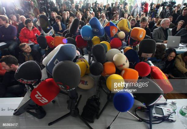 Microfones of the media are pictured during a press conference at the police station on March 12 2009 in Waiblingen Germany17 year old Tim Kretschmer...