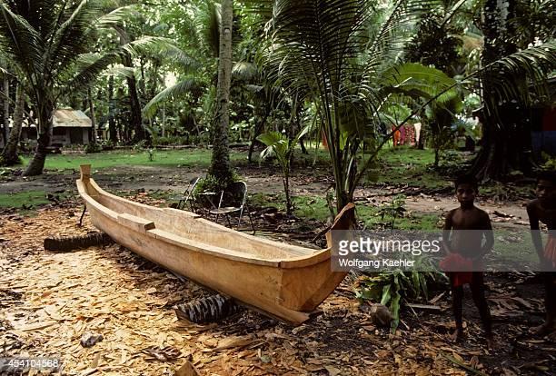 Micronesia Caroline Isls Pulap Island Dugout Canoe Being Built