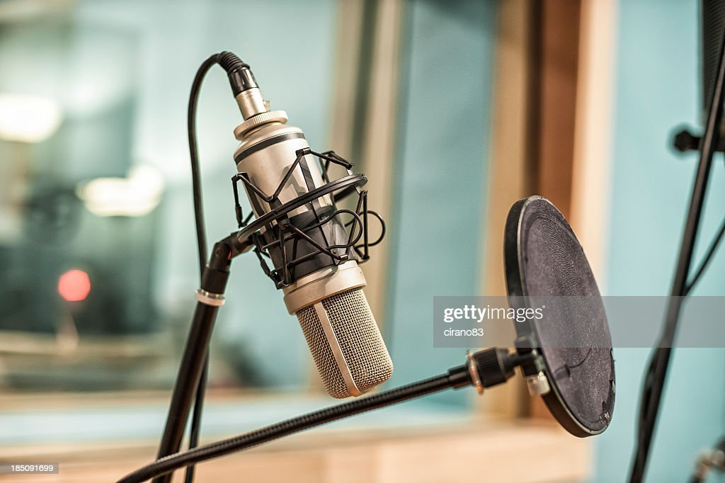 Microphone And Pop Filter In Recording Studio