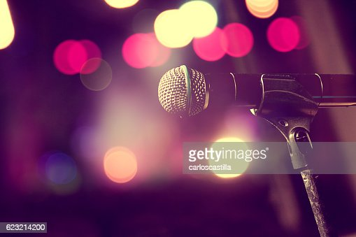 Microphone and stage lights.Concert and music concept : Stock-Foto