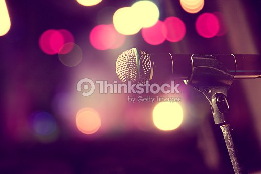 Microphone and stage lights.Concert and music concept : Stock Photo