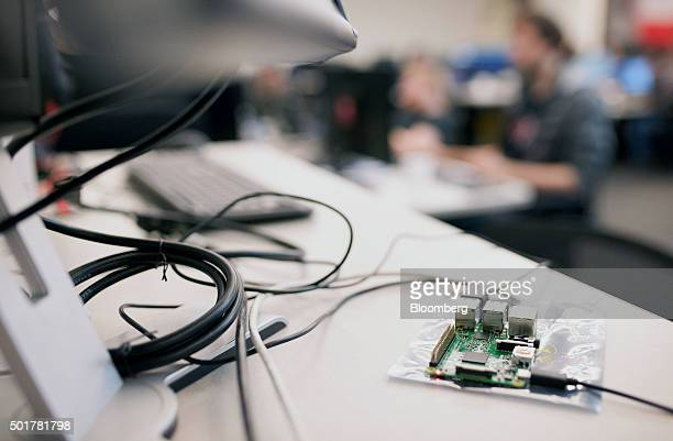 Microphone attachments used for audio tests of the artificial intelligence program are seen at the Maluuba Inc office in Waterloo Ontario Canada on...