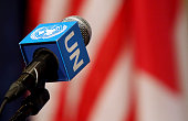 A microphone awaits British Foreign Secretary Boris Johnson to arrive to a press conference in the Security Council Stakeout area of the United...