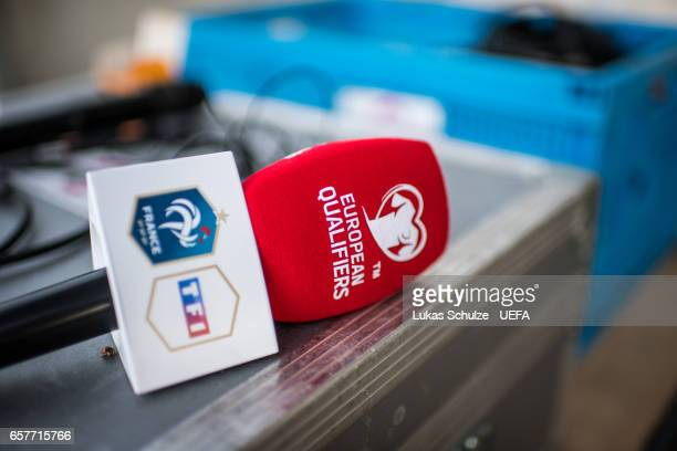 A microphone is seen prior to the FIFA 2018 World Cup Qualifier between Luxembourg and France at Stade Josy Barthel on March 25 2017 in Luxembourg