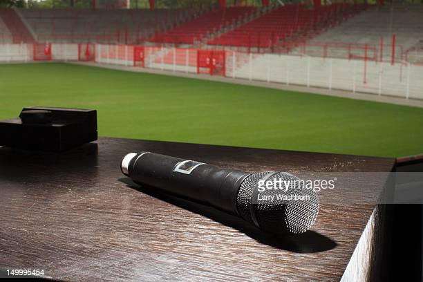 A microphone on a table