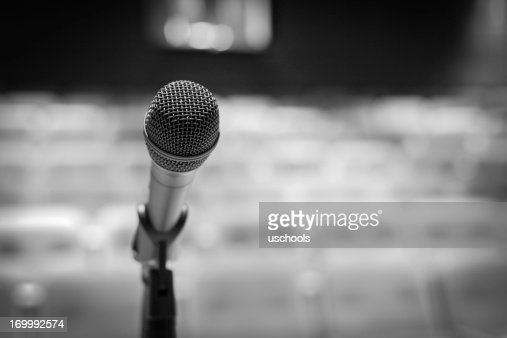 Microphone on stage (Black-and-white image)