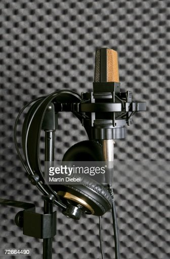 Microphone, stand and headphones