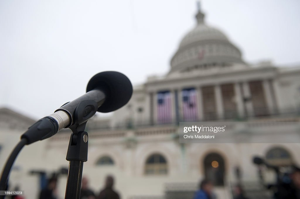 A microphone stand where the President will swear his oath is set up during a dress rehearsal for the 2013 presidential inaugural ceremonies on the West Front of the U.S. Capitol. President Barack Obama will take the oath of office for another four-year term on Monday, Jan. 21, 2013.