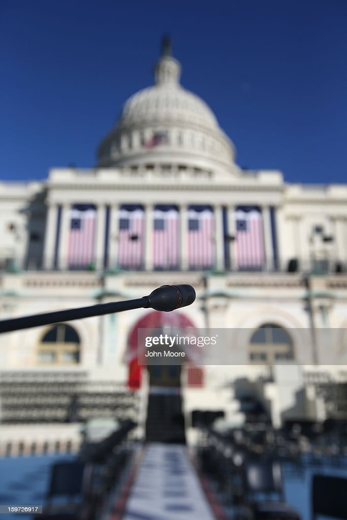 A microphone stands over a podium on the west Capitol platform where President Barack Obama will take the oath of office during his second inauguration on January 19, 2013 in Washington, D.C. Preparations continued ahead of Monday's historic event, which is expected to draw more than half a million people.