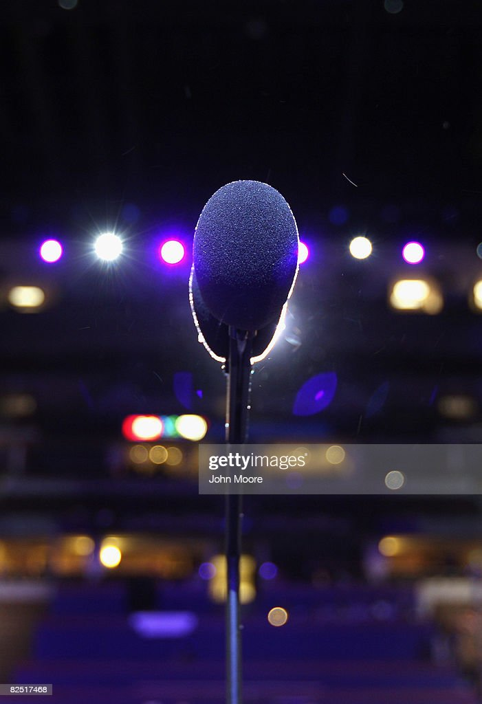 A microphone stands ready at the main podium at the Democratic National Convention at the Pepsi Center August 22, 2008 in Denver Colorado. Some 1,500 students visited the convention hall Friday to see the unveiling of the podium ahead of next week's event, where Democratic delegates from across the nation are set to nominate Barack Obama for President.