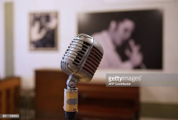 A microphone used by Elvis Presley is seen at Sun Studio where Elvis Presley made his first recordings on August 13 2017 in Memphis Tennessee Forty...