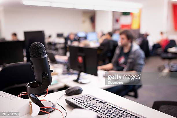 A microphone used for audio tests of the artificial intelligence program is seen at the Maluuba Inc office in Waterloo Ontario Canada on Wednesday...