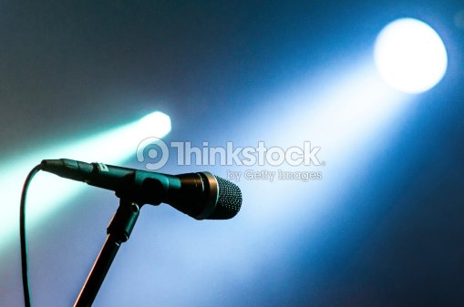 microphone with blue lights light bokeh  two illuminated : Stock Photo