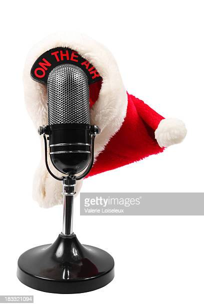 Microphone with santa hat