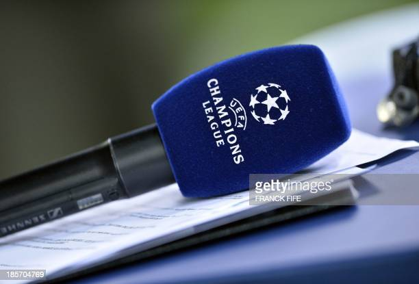 A microphone with the UEFA Champions League logo is pictured during an UEFA Champions League group C football match between Anderlecht and PSG at the...