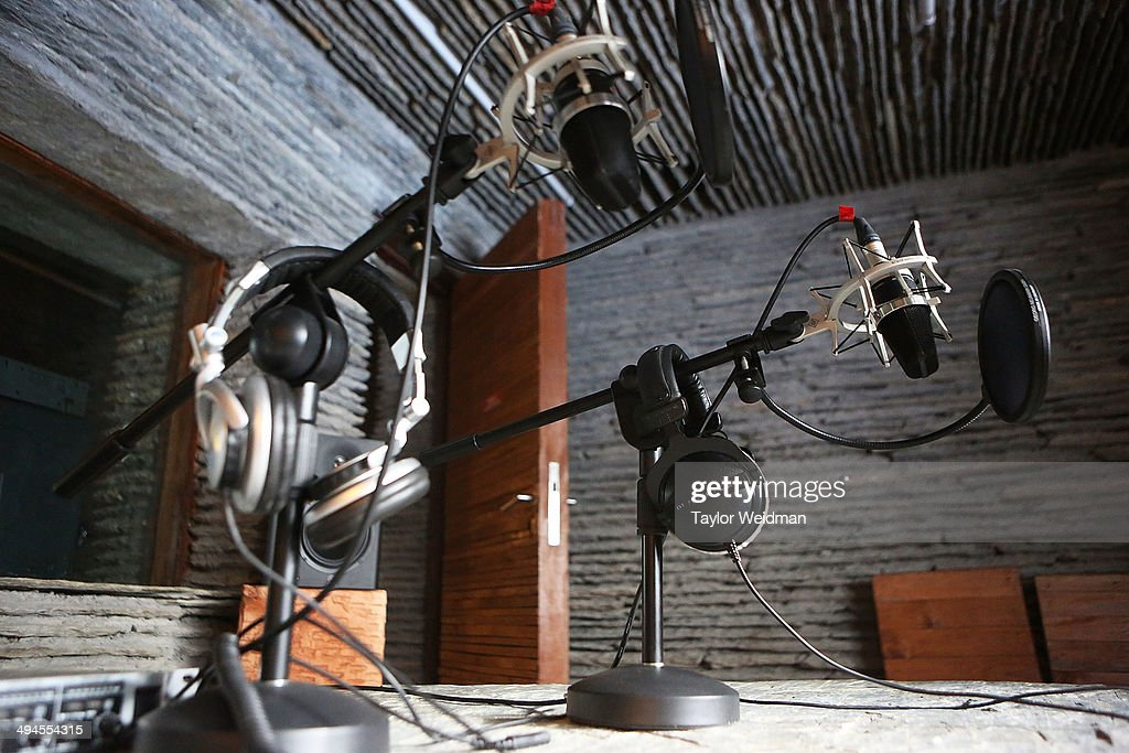 Microphones and other equipment in the recording room of the MBC radio station on May 28 2014 in Jomsom Nepal The Mustang Broadcasting Community...