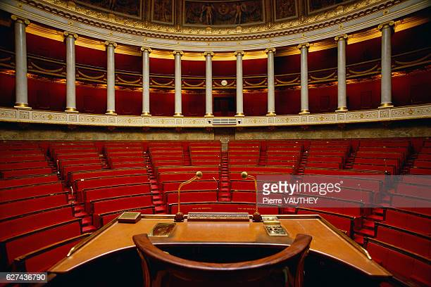 Microphones on the speaker's stand in the French National Assembly amphitheater at the Palais Bourbon