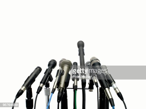 microphones on white : Bildbanksbilder